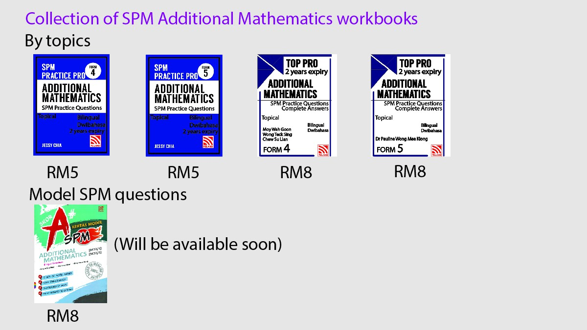 Collection of Add Maths workbooks