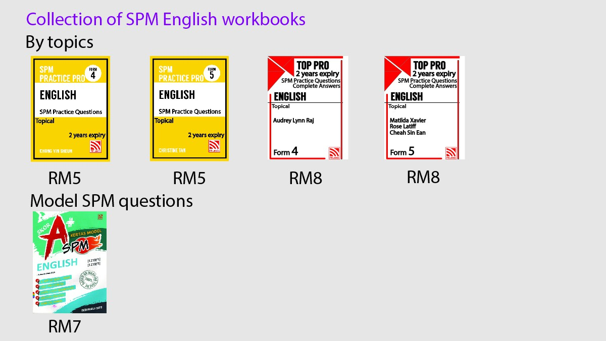 Collection of English workbooks
