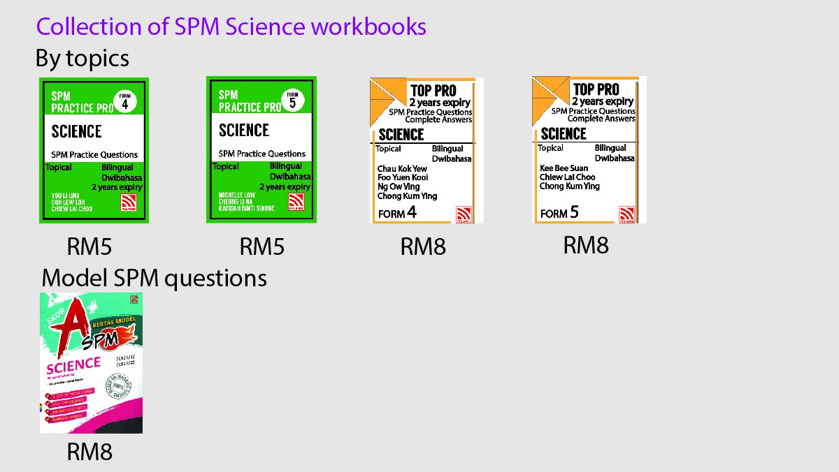 Collection of Science workbooks